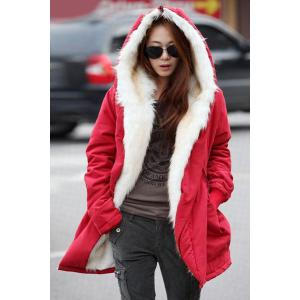Casual Hooded Candy Color Long Sleeve Coat For Women