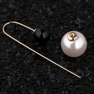 Pair of Alloy Round Faux Pearl Earrings - WHITE/BLACK