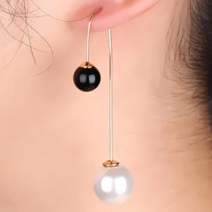 Pair of Alloy Round Faux Pearl Earrings - White And Black - L