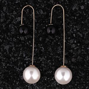 Pair of Alloy Round Faux Pearl Earrings - WHITE AND BLACK