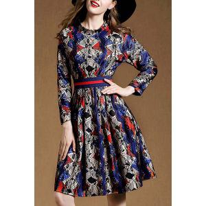 Vintage Stand Collar Long Sleeve Lace Spliced Printed Women's Dress