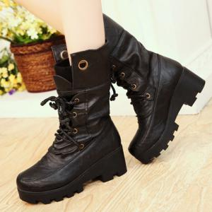 Stylish Ruched and Lace-Up Design Women's Mid-Calf Boots - BLACK 39