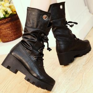 Stylish Ruched and Lace-Up Design Women's Mid-Calf Boots -