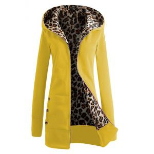 Sexy Hooded Inside Leopard Printed Thick Hoodie For Women