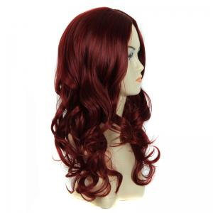 Shaggy Wavy Centre Parting Long Charming Capless Dark Red Heat Resistant Synthetic Wig For Women -