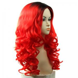 Black Ombre Red Shaggy Wavy Capless Long Attractive Synthetic Middle Part Wig For Women - OMBRE
