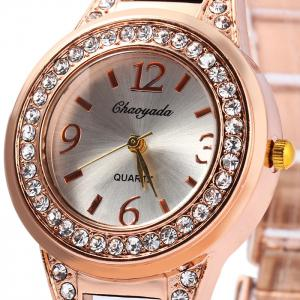 Chaoyada Female Diamond Quartz Watch Steel + Plastic Strap -