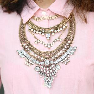 Vintage Rhinestone Layered Tassel Waterdrop Necklace For Women