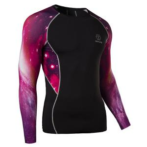 Outdoor Necessary Round Neck Hit Color 3D Starry Sky Spliced Long Sleeves Men's Sweat Dry Tight T-Shirt -
