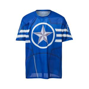 Fashion Round Neck Slimming Color Block Captain America Print Short Sleeve Polyester T-Shirt For Men