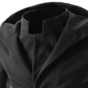 Faux Twinset Hooded Zipper Cuffs Back Slit Solid Color Long Sleeves Men's Slimming Single-Breasted Coat -