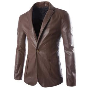 One Button Single-Breasted Stereo Patch Pocket Side Slit Lapel Long Sleeves Men's PU Leather Coat - Coffee - M