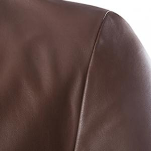 One Button Single-Breasted Stereo Patch Pocket Side Slit Lapel Long Sleeves Men's PU Leather Coat - COFFEE M