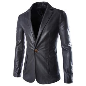 One Button Single-Breasted Stereo Patch Pocket Side Slit Lapel Long Sleeves Men's PU Leather Coat - Black - 2xl
