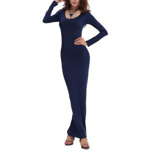 Sexy Style U Neck Long Sleeve Solid Color Women's Bodycon Dress