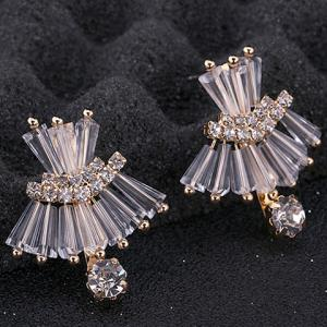 Pair of Delicate Faux Crystal Decorated Dress Shape Earrings For Women -