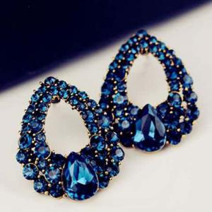 Pair of Hollowed Faux Sapphire Waterdrop Earrings -