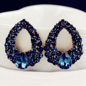 Pair of Hollowed Faux Sapphire Waterdrop Earrings