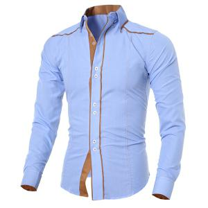 Stylish Shirt Collar Slimming Color Block Sutures Design Long Sleeve Polyester Shirt For Men