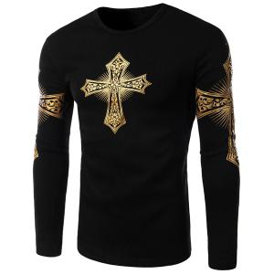 Modern Style Round Neck Color Block Special Cross Print Slimming Long Sleeves Men's Flocky T-Shirt - Black - Xl