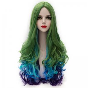 Charming Synthetic Colorful Ombre Long Centre Parting Capless Fluffy Wavy Cosplay Wig For Women