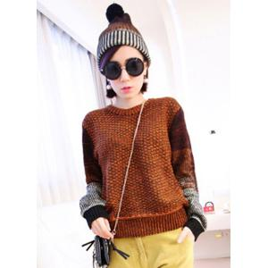 Casual Jewel Neck Color Block Printed Pullover Sweater and Hat Twinset For Women - Coffee - One Size(fit Size Xs To M)