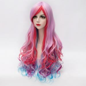 Towheaded Wave Inclined Bang Trendy Colorful Gradient Capless Long Synthetic Costume Wig For Women - COLORMIX