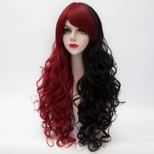 Fluffy Curly Side Bang Red Splicing Black Capless Charming Fashion Long Synthetic Cosplay Wig For Women -