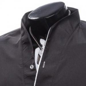 Slimming Stand Collar Personality Button Fly Hit Color Covered Edge Men's Long Sleeves Shirt - BLACK 2XL