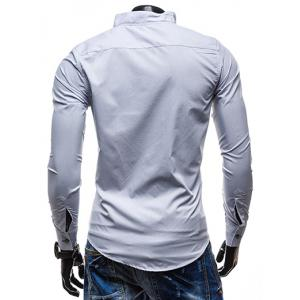 Slimming Stand Collar Personality Button Fly Hit Color Covered Edge Men's Long Sleeves Shirt - WHITE 2XL