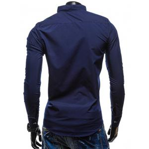 Slimming Stand Collar Personality Button Fly Hit Color Covered Edge Men's Long Sleeves Shirt - CADETBLUE M