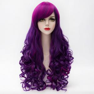 Charming Inclined Bang Long Purple Highlight Capless Fluffy Curly Synthetic Cosplay Wig For Women - Colormix - One-size