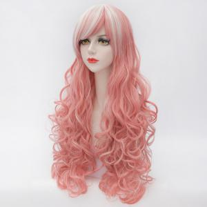 Fluffy Curly Heat Resistant Fiber Highlight Long Gorgeous Inclined Bang Capless Women's Cosplay Wig -