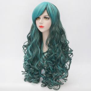 Stunning Long Side Bang Fluffy Curly Heat Resistant Synthetic Highlight Capless Women's Cosplay Wig - COLORMIX