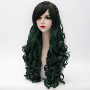 Shaggy Curly Long Capless Side Bang Trendy Black Mixed Blackish Green Synthetic Cosplay Wig For Women - COLORMIX