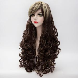 Charming Blonde Mixed Brown Capless Long Towheaded Curly Side Bang Synthetic Women's Cosplay Wig -