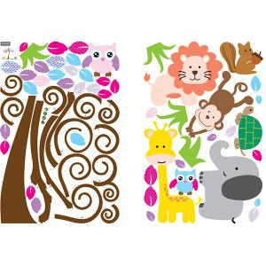 DIY Chic Cartoon Tree and Animal Pattern Home Decoration Decorative Wall Stickers -