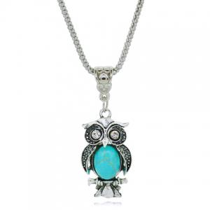 A Suit of Faux Turquoise Night Owl Necklace and Earrings -
