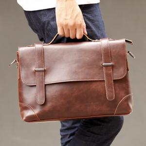 Retro Stitching and Solid Color Design Men's Briefcase -