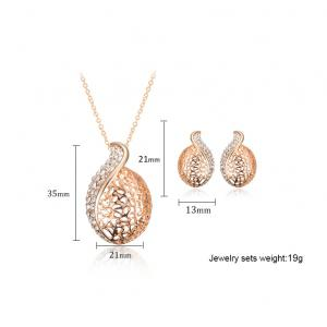 A Suit of Graceful Rhinestone Hollow Out Necklace and Earrings For Women -