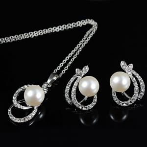A Suit of Sweet Rhinestone Faux Pearl Hollow Out Oval Necklace and Earrings For Women -
