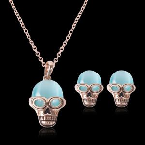 A Suit of Characteristic Faux Opal Skull Necklace and Earrings For Women -