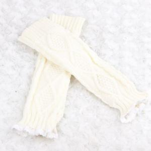 Pair of Chic Rhombus and Lace Edge Embellished Knitted Fingerless Gloves For Women -