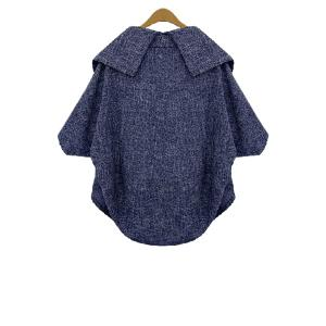 Batwing Sleeve Plus Size Wool Cape Jacket -