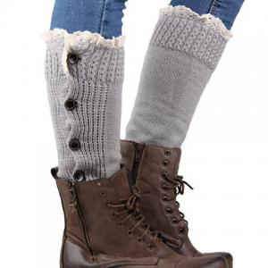 Pair of Chic Buttons and Lace Embellished Knitted Leg Warmers For Women -