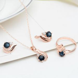 A Suit of Rhinestone Alloy Necklace Earrings and Ring - ROSE GOLD