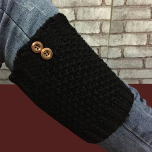Pair of Chic Two Buttons Embellished Hollow Out Knitted Boot Cuffs For Women -