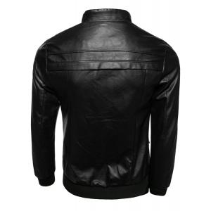 Zipper Pocket Rib Spliced Sutures Design Stand Collar Long Sleeves Slimming Men's PU Leather Jacket -