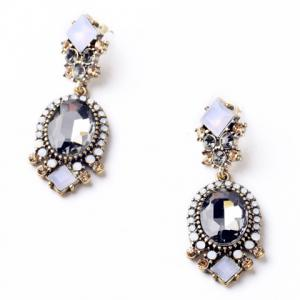 Pair of Retro Faux Crystal Square Oval Drop Earrings -