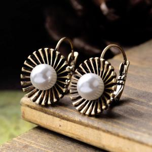 Pair of Vintage Faux Pearl Flower Earrings -